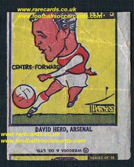 1960 Webcosa Arsenal David Herd original wax paper gum insert